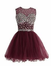 Short Sequins Beaded Tulle Cocktail Party Dress Homecoming Prom Ball Gowns W1801