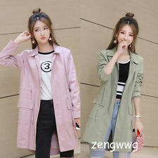 Fashion Womens Girls MD-LONG Dust Coat Lady Loose Casual Thin Jacket Outerwear