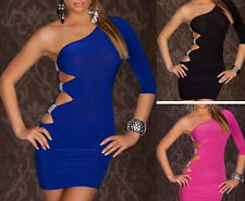 Sexy Lady Women's Cocktail Party Club Slim Skirt One-Shoulder Dress + G-string