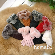 New Fashion Womens Winter Real Leather Fur Gloves Lady GENUINE Warm Mittens Gift