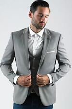 Mens Marc Darcy Designer Grey Blazer Tailored Slim Fit Jacket Size 34-52 Avl