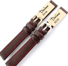 12mm DARLENA CLASSIC 1201 CALF LEATHER WATCH STRAP BURGUNDY. GOLD OR SILVER
