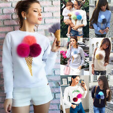 Womens Long Sleeve Plush Ball Sweater Pullover Hoodie Sweatshirt Coat Jumper Top