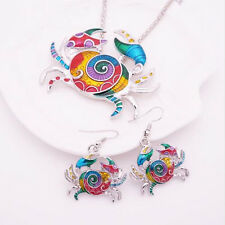 Necklace Crab Gift Silver Plated Jewelry Sets Earring 2016 1 sets Hot Colorful