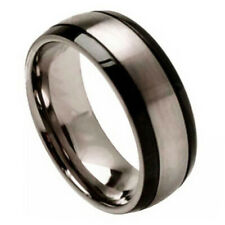 8mm Titanium Band Titanium Ring Brushed Center and Black Grooved Sides