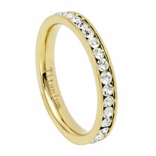 3mm Titanium Band Yellow IP Plated Eternity Ring Cubic Zirconia CZs / Gift box