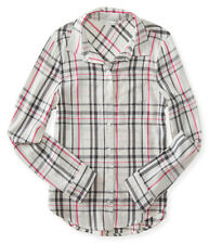 aeropostale kids ps girls' long sleeve plaid woven camp shirt cream