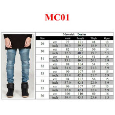Fashion Men Straight Slim Fit Biker Denim Jeans Casual Distressed Ripped Pants