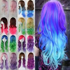 US Ship 60/80CM Anime Cosplay Wigs Halloween Fancy Long Curly Wave Hair Costume