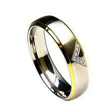 6mm Titanium Band Ring Two toned 7 Round cut Cubic Zirconia CZ V Shape