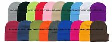 Wholesale 6 Pieces Unisex Knit Long Cuff Ski Plain Beanie Cap Solid Color Beany