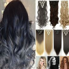 US Full Head 18clips Clip in on Hair Extensions Real thick as human hair 8pcs K5