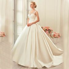 Applique Sleeveless Lace Satin Wedding Dress With Long Train Button A-Line W1835