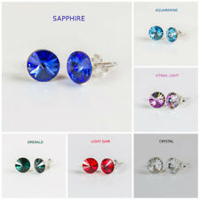 Stud EARRINGS with Swarovski Elements Crystal Colors 8 mm RIVOLI Silver 925