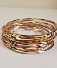 10 Beautiful Gold Tone Sterling Silver Bangle Bracelets