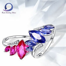 3.77CT Marquise Cut Ruby Tanzanite 925 Sterling Silver Wedding Ring Fine Jewlery