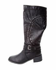 WOMENS BLACK LOW HEEL STUDDED BIKER KNEE HIGH PULL ON BOOTS LADIES UK SIZE 3-8