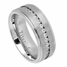 Men's 8mm Titanium Wedding Band White IP Engagement Ring Cubic Zirconia CZs