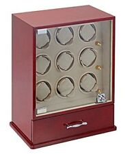 Diplomat Cherry Wood Nine Watch Winder with Tan Suede Interior and 4 Program Set