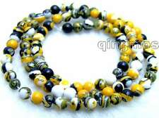 "Charming! small 4mm Yellow Multicolor Round agate beads strands 15"" -los577"