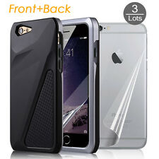 3x HD Clear Front+Back Screen Films for iPhone 6 6S&Rugged Hard Armor Case Cover