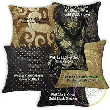 Wd Gold Black Brown Checker Paisley Cotton Pillow Case/Cushion Cover Custom Size