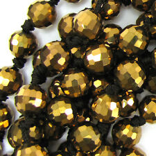 "12mm faceted quartz round beads 8"" strand gold 12pcs"