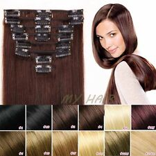 "7/8 Pieces Salon 18/20/22"" Clip In Remy Human Hair Extensions Full Head US HQ394"
