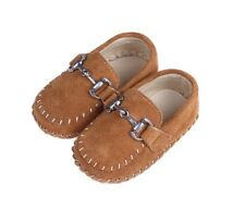 Baby Boys Moccasin - Brown Suede Soft Soles