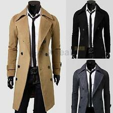 XD#3 Stylish Mens Slim Fit Trench Coat Winter Long Jacket Double Breasted Overco