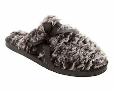 WOMENS DUNLOP SOFT & COSY FAUX FUR LINED SLIP ON MULES SLIPPERS LADIES SIZE 3-8