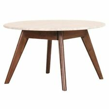 NEW Life Interiors Oia Walnut & Marble Round Coffee Table