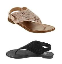 FADED GLORY - Women's Jeweled Hooded Thongs Sandals Shoes - Black or Blush