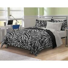 NEW Twin XL Full Queen Bed Black Zebra Girls 7 pc piece Comforter Sheets Set NWT