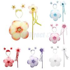 Girls Fairy Costume Flower Halloween Party Wings Wand Princess Headband Beauty