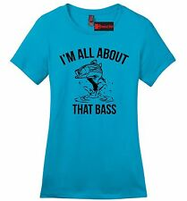 I'm All About That Bass Funny Fishing Ladies Soft T Shirt Music Fish Gift Tee Z4