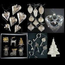 LUXURY GLASS/CRYSTAL CHRISTMAS DECORATIONS SETS HANGING TREE BAUBLES SLVR/GOLD
