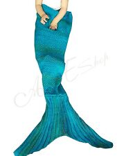 Girls Warm Handcrafted Crochet Knitted Hand Wool Mermaid Tail Blanket for Adults