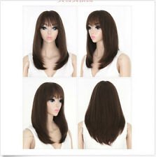 Women Medium Straight Natural Synthetic Hair Cosplay Party Fashion Full Wig+Cap