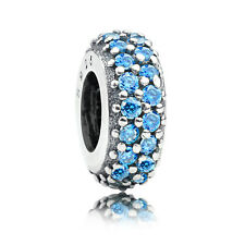 Authentic 925 Sterling silver Pave Teal Blue CZ Spacer Charm Bead fit bracelet