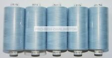 5 REELS PALE BLUE MOON POLYESTER SEWING THREAD COTTON 120s ( 54 )