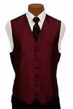 Large Mens After Six Aries Burgundy Fullback Prom Wedding Tuxedo Vest & Tie