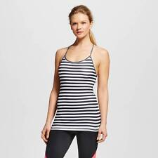 NWT C9 by Champion Fitted Tank Cami Top Inner Bra Removeable Pads Black/White