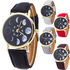 UNISEX QUARTZ WRIST WATCH MOON PHASE ASTRONOMY SPACE FAUX LEATHER BAND