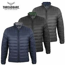 Mens Threadbare Padded Panel Quilted Funnel Neck Puffa Jacket Winter Coat