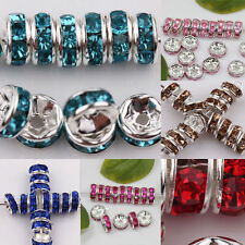 50/100Pcs Czech Glass Crystal Silver Plated Loose Spacer Beads 8mm Accessory
