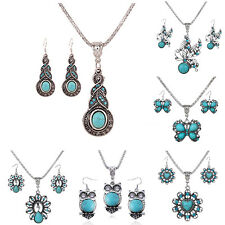 Fashion Tibet Women Turquoise Crystal Pendant Earrings Necklace Jewelry Set Hot