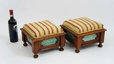 Pair of Victorian Oak upholstered footstools with Minton Hollins tile inserts