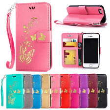 Gold Butterfly printing Wallet Leather Flip Case Cover For iphone Mobile Phone