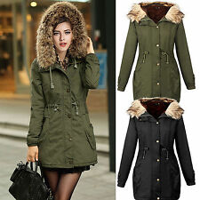 Womens Military Faux Fur Collar Long Jacket Coat Parka Outwear Hooded Overcoat